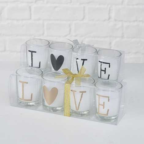 Lot de 4 bougies LOVE
