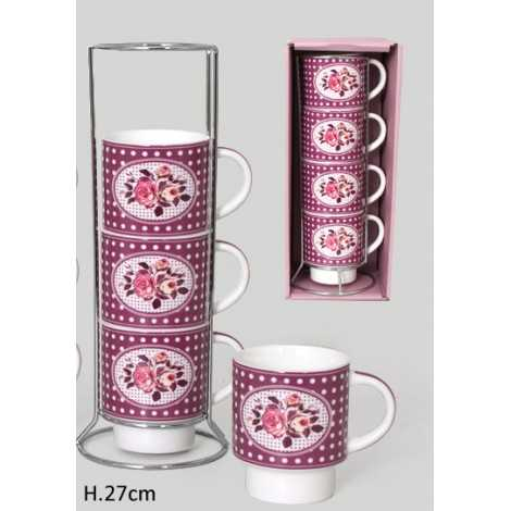 Set 4 tasses porcelaine +...
