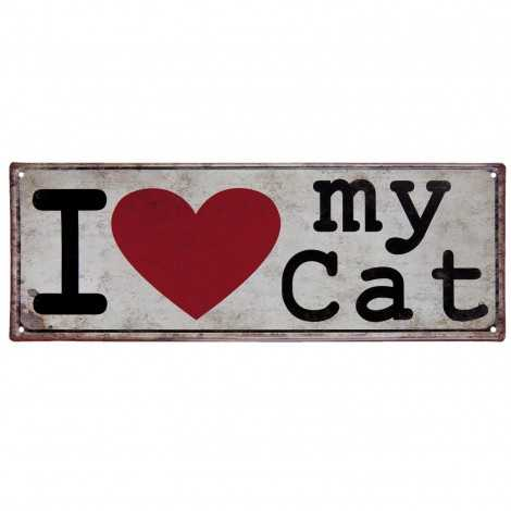 Plaque métal I love my Cat