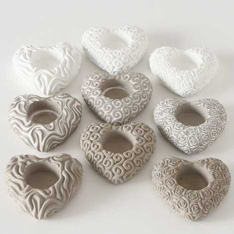 lot de 3 bougeoirs en forme de coeur