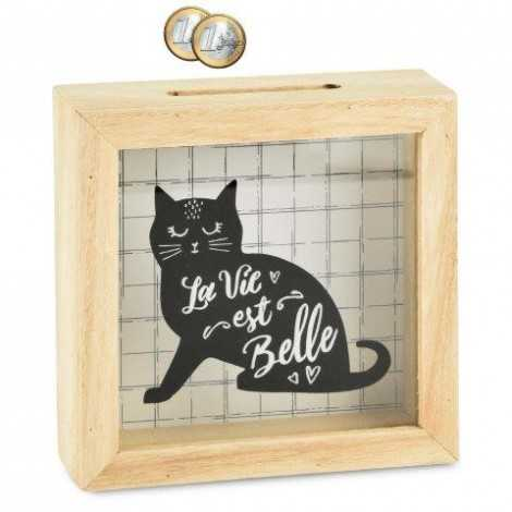 """Tirelire chat """"la vie est..."""