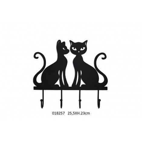 patère métal chat noir