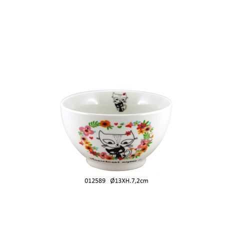 bol en prochaine avec dessin de chat et couronne de fleurs colorée